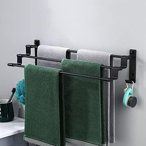 Handtuchregal Handtuchhalter Bad Wandregal Aluminium Handtuchstange mit Regal 3 Stangen und 2 Haken 60CM Handtuch Halter Halterung Badetuchhalter Schwarz für Badezimmer Küche