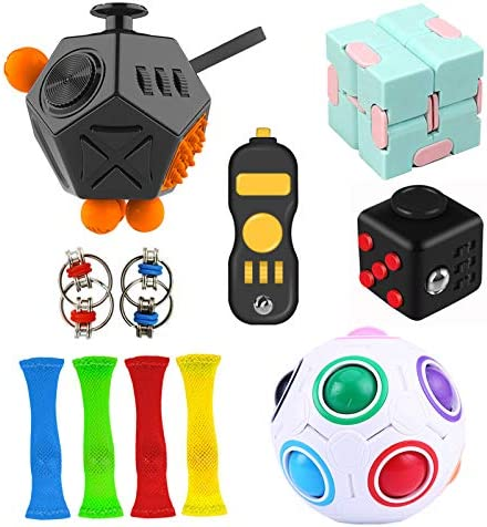 Suhctuptx 12 Pieces Fidget Toy Set Include 12 Side Fidget Cube Infinity Cube Rainbow Puzzle product image