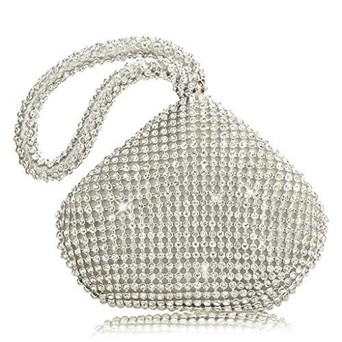 Bogji - Dames driehoek glitter handtas clutch avond luxe tassen Party Prom (zilver)