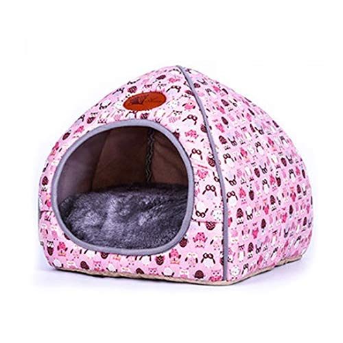 YMYGCC Pet Bed Pet Dog Cat House Tent Kennel Doggy Fashion Winter Warm Soft Cushion Basket Animal Bed Cave Pet Products 54 (Color : Pink, Size : L)