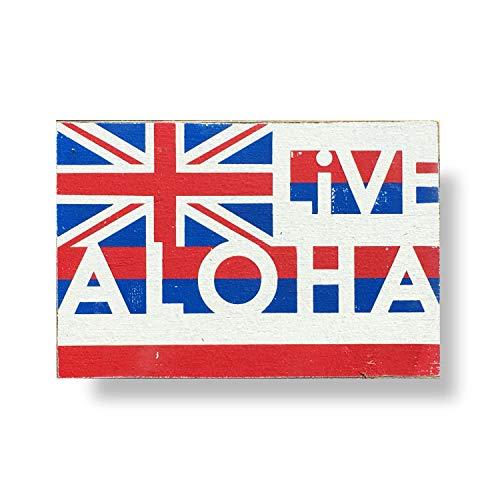 Em2342oe Hawaii Vlag Live Aloha Rustiek Hout Teken 8 X 10