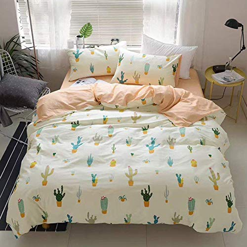Newest CollectionCactus Cartoon Kids Duvet Cover Twin Peach Girls Quilt Cover Cacti Children 3 Pieces Pale Yellow Plant Cute Bedding Cover Set Bedding Collections Set for Adult Teens,NO Comforter
