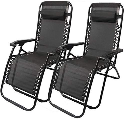 WJXBoos Juego de 2 sillas Plegables de Gravedad Cero Tumbonas reclinables Tumbona para jardín Patio jardín Soporte Exterior 200 kg (Color: con algodón Gris)