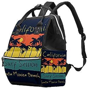 51821+lVvTL. SS300  - LORVIES Surf California Santa Mónica Beach Surf Pañal Bolso cambiador con bolsillos aislados correas para cochecito…
