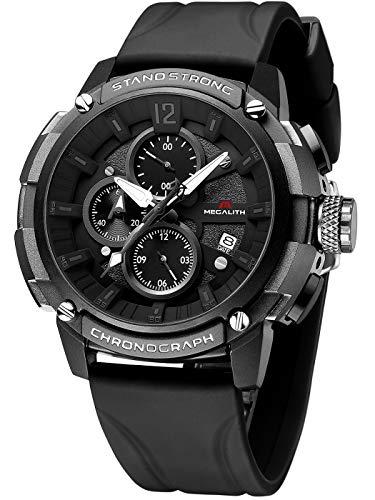MEGALITH Herrenuhr Militär Schwarz Uhr Chronographen Herren Armbanduhr Groß Wasserdicht Sportlich Uhren fur Männer Analog Design Datum Leuchtend Gummi - Weiß
