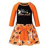 Kaerm Kinder Langarm Halloween Kostüm Top Set Baby Kleidung Set Boo Halloween Druck Langarmshirt Mini Tutu Rock Mit Geister Kürbis Print In Orange Orange 92-98