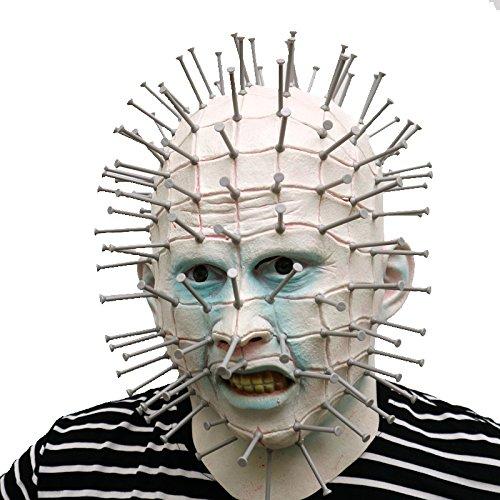 thematys Hellraiser Pinhead mit Plastik Nägeln Horror Maske - perfekt für Fasching, Karneval & Halloween - Kostüm für Erwachsene - Latex, Unisex Einheitsgröße