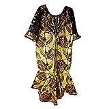 MAYNOWAX Robe Femme Tissu Wax Africain Cire Imprime Original Taille Unique:44/46