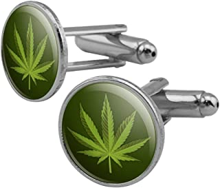GRAPHICS & MORE Marijuana Leaf Design Cannabis Pot Round Cufflink Set Silver Color