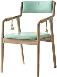 DBL Comedor de madera Silla Butaca con apoyabrazos del asiento y respaldo tapizado acolchado portátil for adultos de los niños Cocina ADSL Mesa de comedor heces - verde menta de imitación de cuero, co