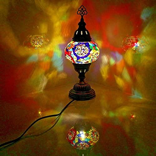Lampada da tavolo in stile marocchino turco a mosaico multicolore