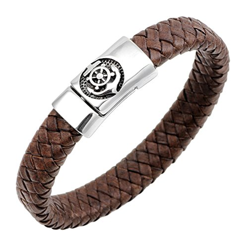 LiFashion LF Mens Stainless Steel Brown Braided Leather Wristband Nautical Anchor Rudder Charm Magnetic Cuff Bracelet for Dad Boyfriend Husband for Outdoor Holiday Tripe Gift,21cm