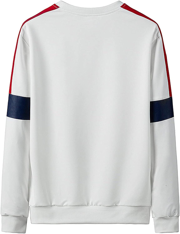 Men's Crewneck Sweatshirts Fashion Graphic Long Sleeve Pullover Sweatshirt Plus Size