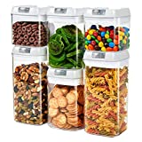 Airtight Food Storage Containers, JET ONEE Canisters sets for the kitchen airtight, BPA Free, 6PCS Clear Dry Food Storage Containers with Easy Lock Lids - Easy to Clean, durable