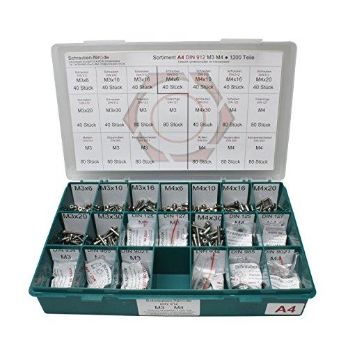 Sortiment M3 + M4 DIN 912 Edelstahl A4 (V4A) Zylinderschrauben (Innensechskant) - Set bestehend aus Schrauben, Unterlegscheiben (DIN 125, 127, 9021) und Muttern (DIN 934, 985) - 1200 Teile