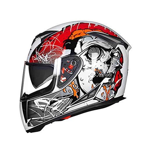 SSYWX Casco Integral De Moto, Casco De Moto Scooter Para Hombre, Lente Doble, Damas Con Visera, Certificación DOT, M-XXL (54-63cm) (White,XXL(61-63cm))