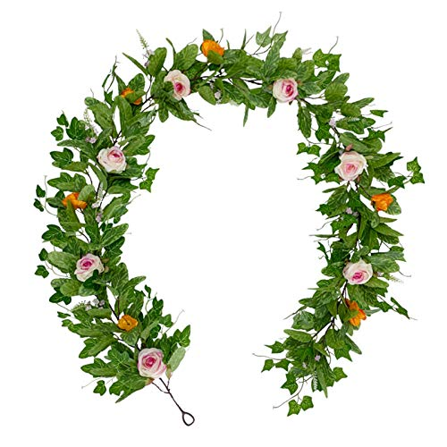 CJFael Vid artificial falso de 185 cm de hiedra artificial enredadera flor de vid verde para el hogar, boda, jardín, decoración de ventana, jardín, boda, fiesta, decoración 1