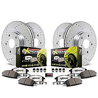 Power Stop K1715-26 Front and Rear Z26 Carbon Fiber Brake Pads with Drilled & Slotted Brake Rotors Kit