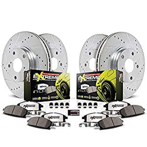 Power Stop K5768 Front /& Rear Brake Kit with Drilled//Slotted Brake Rotors and Z23 Evolution Ceramic Brake Pads