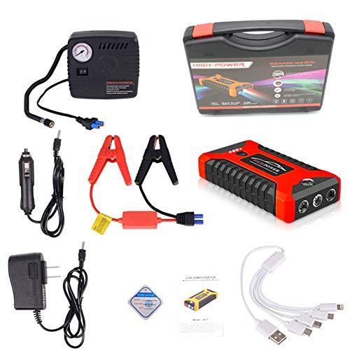 AZITEKE Auto Starthilfe Powerbank, 20000mAh 4 USB Smart Digital Tragbare Auto-Starthilfe Notversorgungs-Kit Batterie für 6.0L Benzin und 5.0L Dieselmotor (Rot, Standardkonfiguration + Luftpumpe)