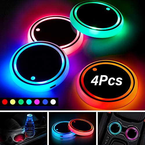 4 Pieces LED Car Cup Holders with 7 Colors Changing USB Charging Mat Cup Pads LED Car Interior Atmosphere Lamp Coasters with USB Cables for Car Truck SUV Vehicle Decor