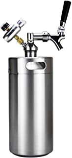 SupYaque Mini Beer Keg Pressurized Stainless Steel Keeps Carbonation for Homebrew,Craft Draught Beer Kegging Equipment Enthusiast (3.6 L/128 oz)