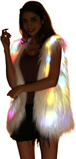 Women Faux Fur Outwear Winter Light Up Burning Glow Fluffy Sparking Rainbow LED Costume Waistcoat