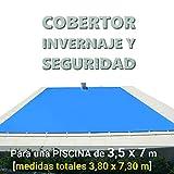 Cobertor, lona, cubierta, toldo,… de invierno para cubrir una piscina de 3,5 x 7 m. Medidas totales del cobertor: 3,80 x 7,30 m. Incluye: Cobertor + Anclajes escamoteables 100% inox + Tensores de 8 mm + Saco de almacenaje. Color: Azul y negro en el reverso. Opacidad total – Forma: rectangular.