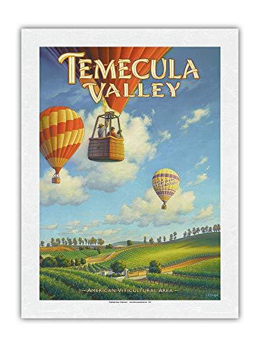 Vignobles de Temecula Valley – Riverside County – Côte sur AVA – Art de País del vino de California de Kerne Erickson – Papel de arroz con impresión artística 43 x 56 cm
