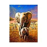 Lazodaer - Pintura de diamantes de imitación para manualidades, decoración de pared, diseño de elefantes en la selva, 30 x 39 cm