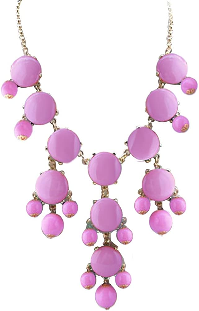 ReisJewelry Beaded Boho Chunky Bubble Bib Collar Statement Necklace for Womens Girls