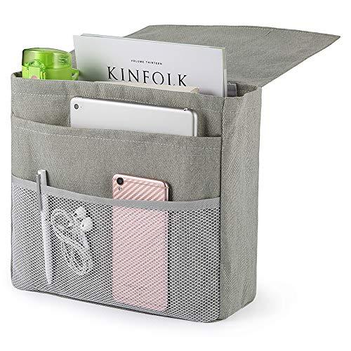 Ecooe Anti-Rutsch Nachttisch-Caddy Tasche Betttasche Bett Sofa Organizer mit 5 Taschen und Klettverschluss Bettablage zum Einhängen für Telefon iPad Fernbedienung Magzine Stift 30x25x10CM(Hellgrau)