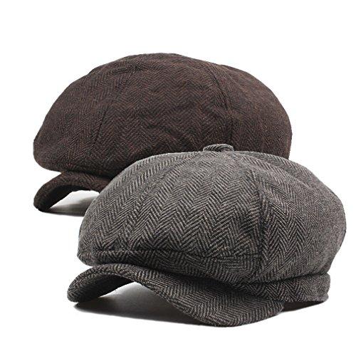 Decstore Paquete de 2 Hombres Beret de Algodón Plano Tapa Ivy Cabbie Newsboy Hat Verano Sombrero