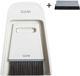 Mini Broom and Dustpan Set Small Hand Broom and Dust Pan Tiny Dustpan and Brush Set for Cleaning Table Countertop Keyboard Pets Hair and Small Messes - Bonus 1 Sponge Scraper