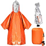 TOBWOLF 2PCS Emergency Poncho, Reversible Mylar Rescue Thermal Raincoat with One Whistle, Waterproof Heat Reflective Survival Silver Foil Blanket Great for Camping Hiking Traveling