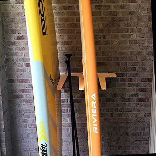 Grassracks Bamboo Vertical Wall-Mounted Paddleboard Storage Rack for 4 SUPs or Surfboards (4 Boards, Bamboo)