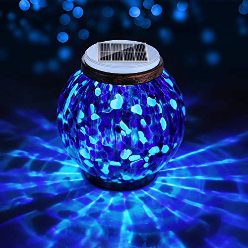 Pandawill Mosaic Solar Glass Garden Light, Rechargeable Outdoor Hanging Light Metal Decorative Ball Light, Waterproof LED Table Lamp Waterproof Night Light for Patio, Countryyard, Bedroom, Party