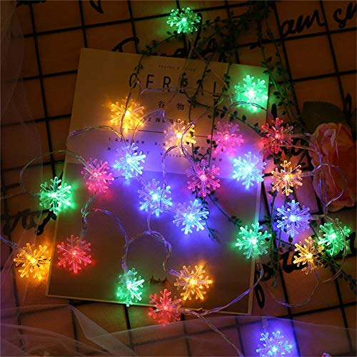 CHIC&TNK 3M/6M/10M Led Snowflake String Lightsg Garland Christmas Tree Decorations Lights Year Holiday Wedding Party Decorlighting,Multicolor,(Battery) 10M 80LED