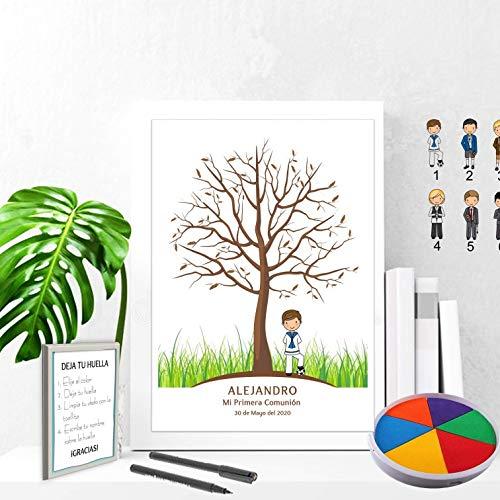 Didart Handmade Cuadro de árbol de huellas con niño de comunión. Varios tamaños y colores de marco.Tintas e instrucciones incluidas. MODELO SIXTY. CARTEL e INVITACIONES si lo deseas.