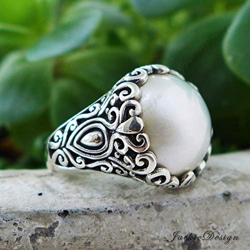 15mm Cream White Mabe Pearl Size 8, 8.5, 9 Ring Bali Sterling Silver JD219