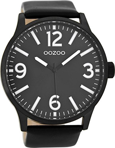 Oozoo Herren Digital Quarz Uhr mit Leder Armband C8574