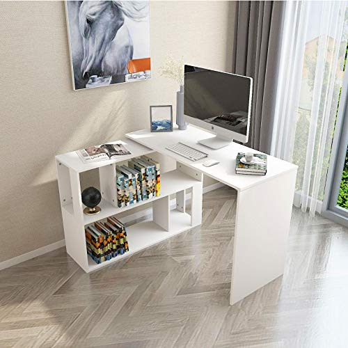 KERDOM Rotating L-Shaped Desk, Reversible Corner Computer Desks with Storage Shelves, 360° Free Swivel Rotatable Modular Desks Reception Table for Home Office Study, White