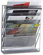 Relaxdays Tijdschriftenhouder muur, brochurehouder A4, tijdschriften wandhouder, metaal, HxBxD: 40 x 32 x 10 cm, zilver