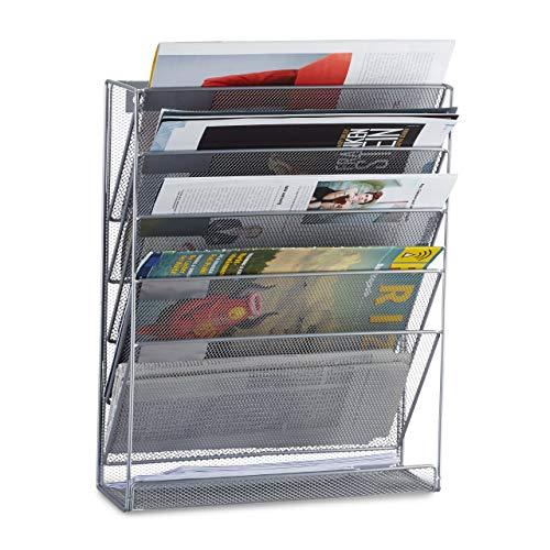 Relaxdays Zeitschriftenhalter Wand, Prospekthalter A4, Zeitschriften Wandhalter, Metall, HxBxT: 40 x 32 x 10 cm, silber