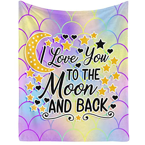 Blanket I Love You to The Moon and The Back Lightweight Throws Soft Air Conditioner Quilt Microplush Flannel Blankets Gift for Christmas Halloween Birthday 80'x60' Queen for Women Men