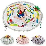 all Kids United Kinder Spielzeug-Beutel Aufbewahrungsbeutel Ø 140cm Spielzeugsack Aufräumsack & Spieldecke; Katzen (Grau)