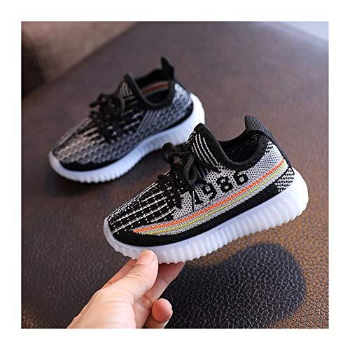 Youpin Zapatillas de deporte para bebé de moda para niños, zapatos planos para bebés y niñas, elásticos de malla transpirable para correr (color: negro, talla de zapato: 29)