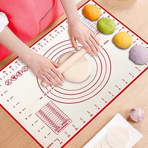 Tapete de silicona para pastelería con medida de contador, tapete para amasar, pizza y galletas y tapete para pastelería de fácil limpieza, 16 x 24 pulgadas - Rojo