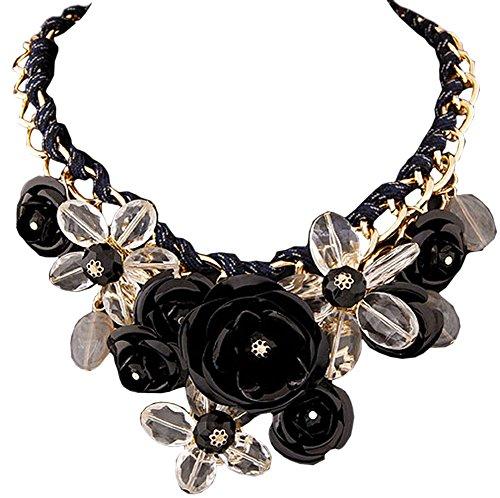 DELEY Damen Blumen Charme Kristall Chunky Kette Bib Statement Choker Kragen Halskette Schwarz