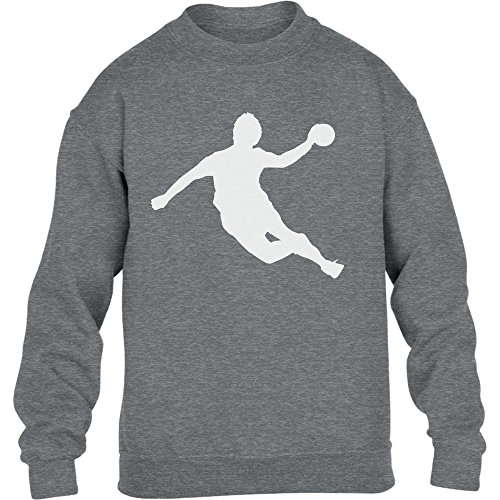 Handball Spieler in Action Silhuetten Fan Geschenk Kinder Pullover Sweatshirt L 134/146 Grau